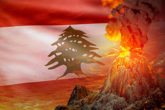 volcano blast eruption at night with explosion on Lebanon flag background, problems of natural disaster and volcanic ash conceptual 3D illustration of nature