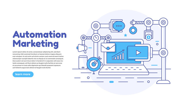 Flat design concept automation marketing. Digital marketing tools. Design template for website and banner. Vector illustrate.