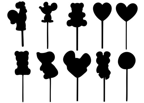 Animal-shaped lollipops. Vector image.