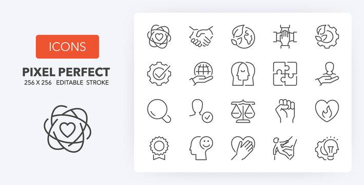 core values line icons 256 x 256