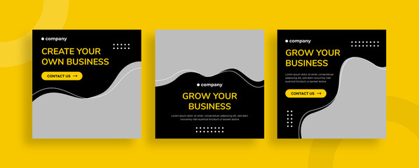 Obraz Set of editable templates for Instagram post, Facebook square, corporate, advertisement, and business, fresh design with simple black yellow color (2/3) - fototapety do salonu
