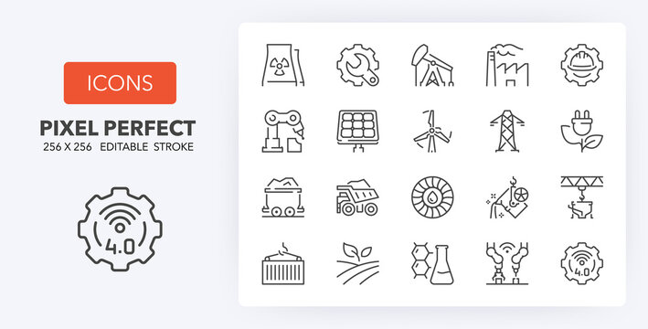 industries line icons 256 x 256