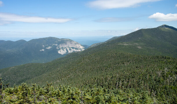 Landscape of the White Mountains in New Hampshire, of Cannon Mountain and the Franconia Ridge Trail from Mt. Liberty summit.