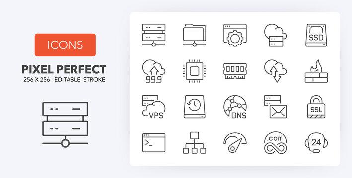 hosting line icons 256 x 256