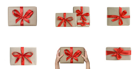 A set of gift boxes with red ribbon.  Holiday presents isolated on white background