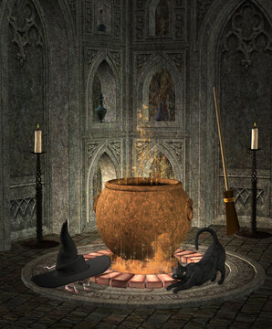 Boiling witch cauldron in a gothic crypt with a black cat