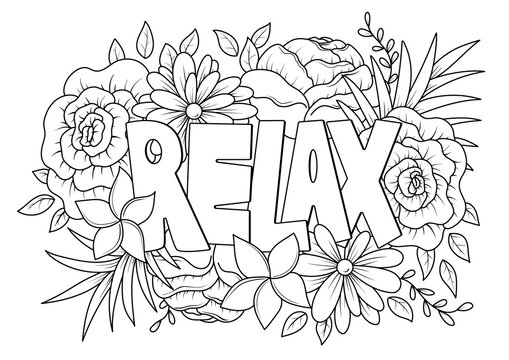 Relax word with floral pattern antistress coloring page for adult in doodle sketch style, vector illustration