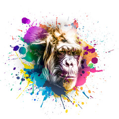 Colorful artistic monkey's head on white background with colorful creative elements