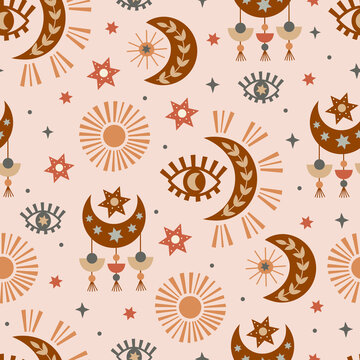seamless pattern with  celestial eye, moon, sun