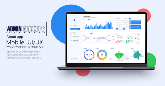 Laptop showing charts and graph, analysis business accounting, statistics concept. Digital marketing, business analysis. Data growth diagram. Business website modern ui, ux, kit. Vector illustration