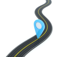 Fototapeta High Angle View Of Global Positioning System On Winding Road Over White Background obraz