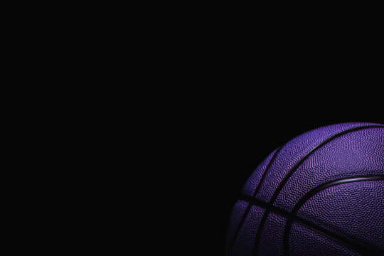 Closeup detail of blue basketball ball texture background. Blue neon and hologram banner Art. Team sport concept