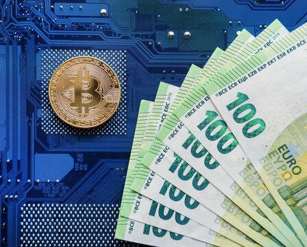 Bitcoin Coins and EURO Concept Background
