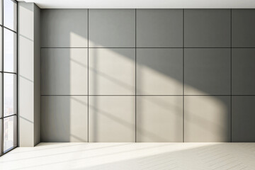 New concrete interior with empty wall tiles and sunlight.