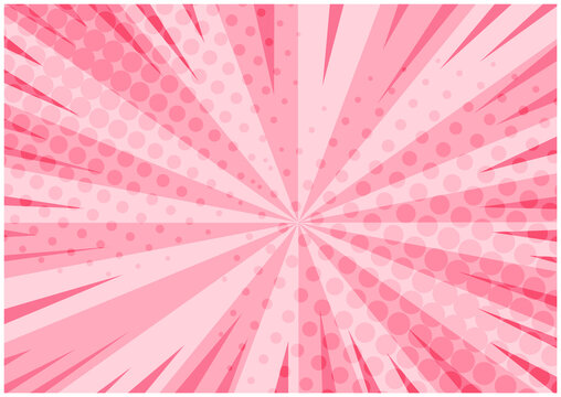 Abstract tender pink striped retro comic background with halftone corners. Lovely background with stripes and half tone pattern for comics book, St. Valentines advertising design, poster, print