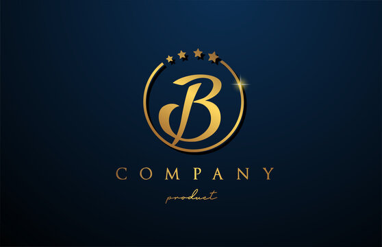 B luxury alphabet letter logo for corporate and company in gold colour. Golden star design with circle. Can be used for a luxury brand
