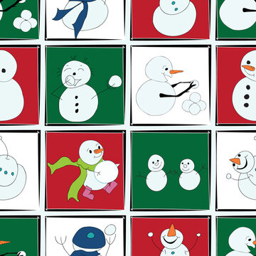 snowman snowmen in a zoom call on red and green backgrounds seamless vector repeat