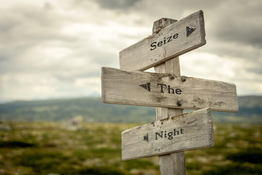 seize the night signpost outdoors in nature