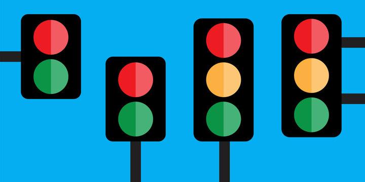Traffic light blue background. Stop sign. Social media concept. Stock image. EPS 10.