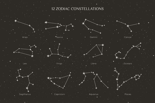 Set of Zodiac Constellations in a Minimal Linear Style. Vector collection of Horoscope Symbols - Aries, Taurus, Gemini, Cancer, Leo, Virgo, Libra, Scorpio, Sagittarius, Capricorn, Aquarius Pisces