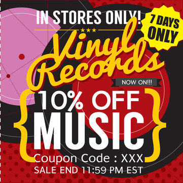 Vinyl Sale Banner Promotion Discount Sale Vector Illustration.