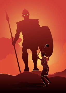 David and Goliath. Vector illustration