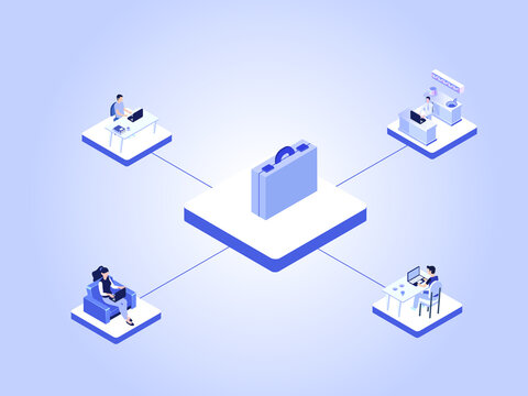 Work from home isometric vector concept. Business people connecting to a briefcase while working with laptop from home