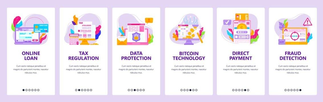 Online bank, loan, tax regulation, direct payment, fraud detection. Mobile app screens, vector website banner template.