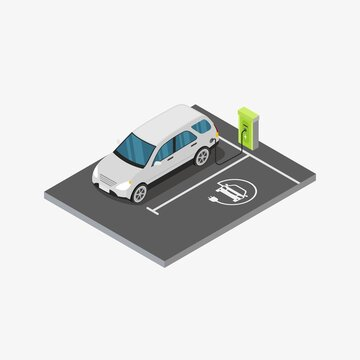 Isometric electric vehicle charging station design concept vector illustration