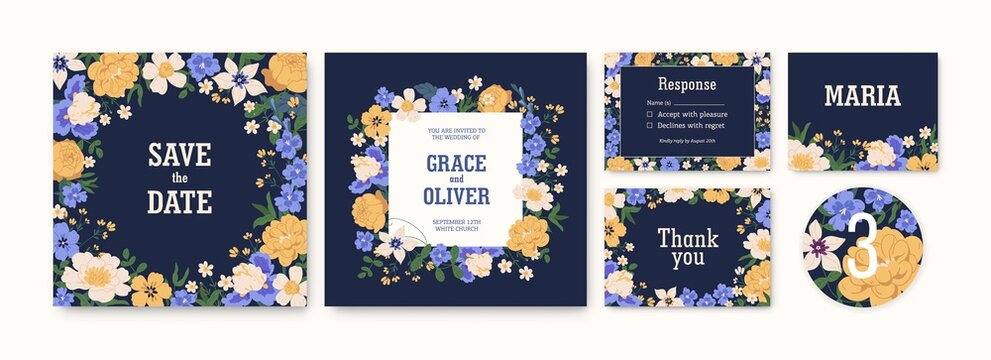 Set of wedding invitation cards and labels with flowers. Floral elegant save the date templates with delphiniums, irises, clematis, peonies and roses. Colorful flat vector illustration