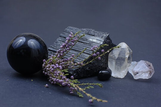semiprecious stones - black tourmaline amethyst, smoky quartz and obsidian with heather branch