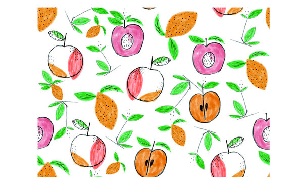Hand painting Fruit all over print repeat design