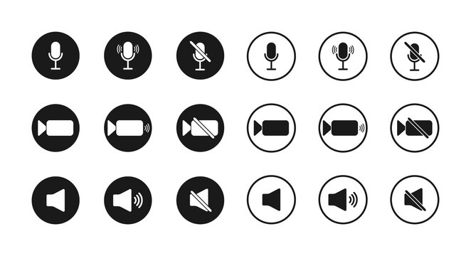 Icon of microphone, sound and camera. Button for mute, zoom and mic. Symbols of interface for video, audio and speakers. Signs of meeting, conference, online webinar. UI on computer. Vector