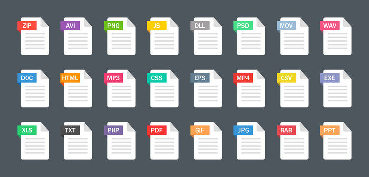 File type icons. Format and extension of documents. Set of pdf, doc, excel, png, jpg, psd, gif, csv, xls, ppt, html, txt and others. Icons for download on computer. Graphic templates for ui. Vector