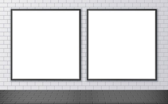 Blank advertising billboard mockup on a subway station. Two square posters on a street wall. Outdoor ceramic tile texture. Vector illustration