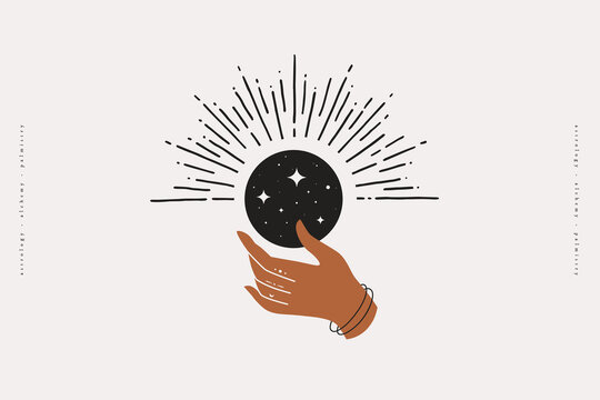 The woman's hand holds a shimmering moon. Magic vector illustration in trendy minimal style. Mystical symbols for spiritual practices, ethnic magic, and astrological rites.