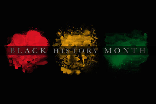 An abstract illustration of African flag color brush strokes on a black background for Black History Month