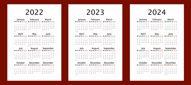 Yearly calendar for 2022 2023 2024 years, vertical A4 format, week starts Monday. Annual calendar template for business and office. Big letter size wall calendar. Annual planner with blank frame