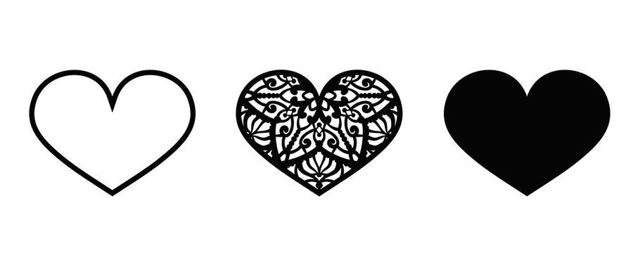 Valentine vector design elements. Hearts for laser cut
