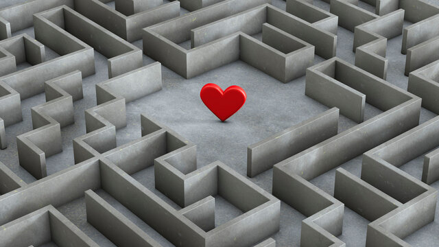 Labyrinth and red heart inside. Love search concept. 3d render