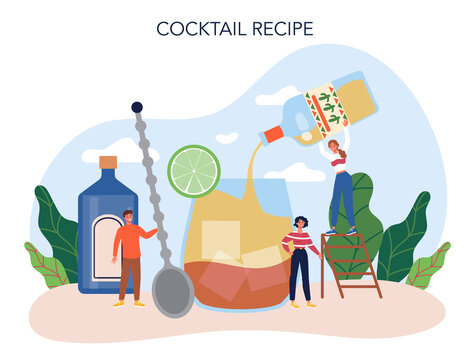 Bartender concept. Barman preparing alcoholic drinks with shaker