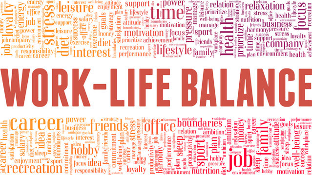 Work-life balance vector illustration word cloud isolated on a white background.