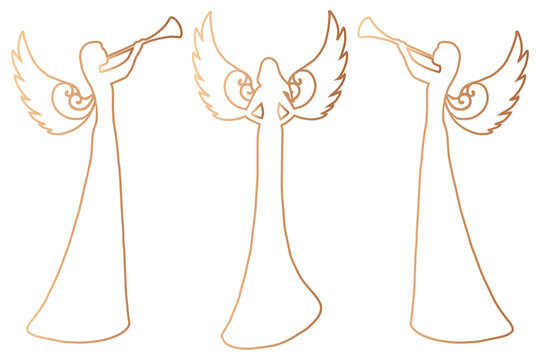 Christmas woman- angel silhouettes outline