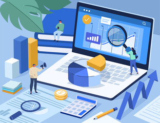 People Analyzing Data and filling Documents for Tax Calculation. Characters Preparing Finance Report with Graph Charts. Accounting and Financial Management Concept. Flat Cartoon Vector Illustration.