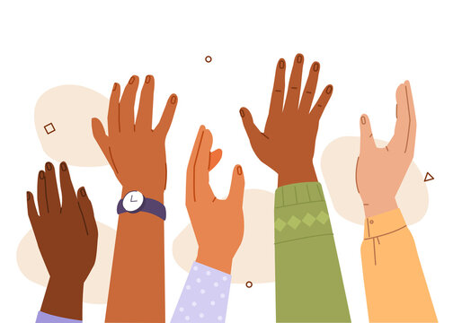 Diversity People Raising Hands Up. Multicultural Characters Celebrating, Participating, Asking Questions or Supporting each other. Flat Cartoon Vector Illustration.