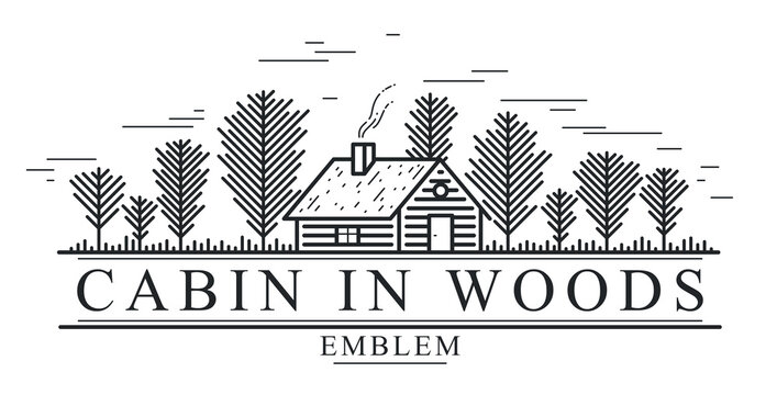 Cabin in woods pine forest linear vector nature emblem isolated on white, log cabin cottage for rest, holidays and vacations theme line art logo, beauty in nature, woodhouse resort.
