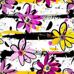 floral seamless pattern background, with flowers, stripes, paint strokes and splashes