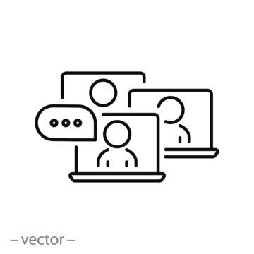 online webinar icon, chat at laptop, distant work in classroom, video seminar or training, virtual meeting for learning, thin line symbol on white background - editable stroke vector illustration