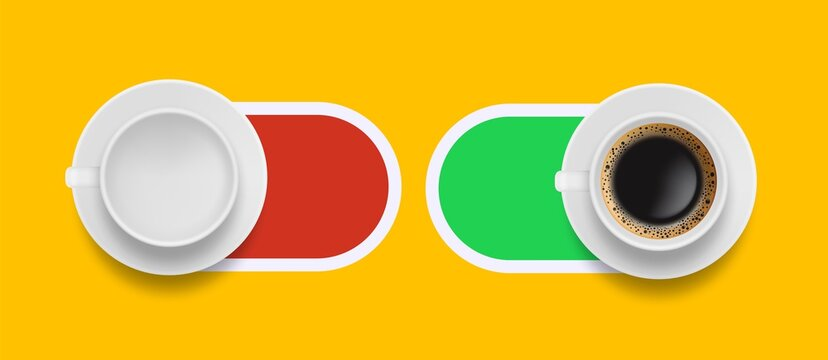 Coffee morning sliders. On off buttons with realistic empty white mug and americano or espresso drink vector illustration. Switch breakfast morning drink