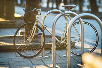 Bicycle Parked On Footpath - fototapety na wymiar